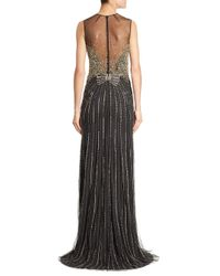 Jenny Packham - Black Beaded Illusion Gown - Lyst