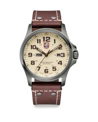 Luminox - Brown Illuminated 24/7 Collection Leather-strap Watch for Men - Lyst
