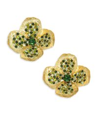 Kenneth Jay Lane - Metallic Pave Clover Stud Earrings - Lyst