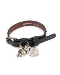 Alexander McQueen - Black Single Wrap Bracelet - Lyst