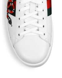 Gucci White New Ace Embroidered Sneaker for men