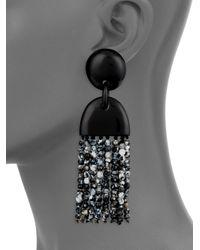 Nest - Black Horn & Agate Long Tassel Earrings - Lyst