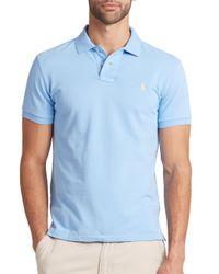 Polo Ralph Lauren - Blue Custom-fit Mesh Polo for Men - Lyst