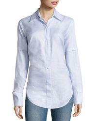 Helmut Lang - Blue Cotton Poplin Tie-back Tuxedo Shirt - Lyst