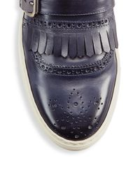 Saks Fifth Avenue - Blue Collection Kilty Buckle Leather Slip-on Sneakers - Lyst