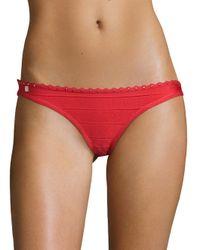 Hervé Léger - Red Bright Poppy Bikini Bottom - Lyst