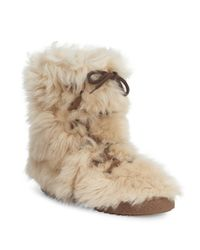Saint Laurent - Natural Furry Boot In Lambskin With Leather Laces for Men - Lyst