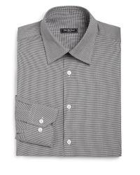 Saks Fifth Avenue - Black Regular-fit Cotton Houndstooth Dress Shirt for Men - Lyst