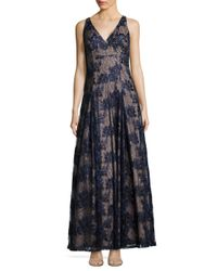 Aidan Mattox - Blue Twilight Fit & Flare Lace Gown - Lyst