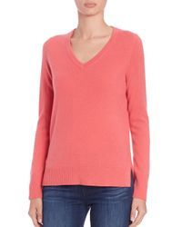 Saks Fifth Avenue | Pink Cashmere V-neck Sweater | Lyst