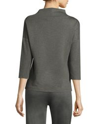 Trina Turk - Gray Camillie Mock-neck Sweater - Lyst