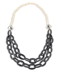 Nest - Metallic Horn & Bone Beaded Double-strand Link Necklace - Lyst