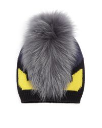 Fendi - Black Monster Fur-trimmed Wool Hat for Men - Lyst
