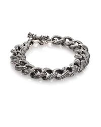 King Baby Studio - Metallic Small Feather Carved Link Bracelet for Men - Lyst