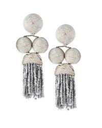 Rebecca de Ravenel - Metallic Cha Cha Short Tassel Earrings - Lyst