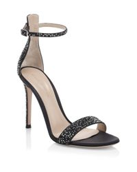 Gianvito Rossi - Black Silk Crystal Ankle-strap Sandals - Lyst
