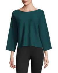Eileen Fisher - Blue Boatneck Slit-sleeve Wool Top - Lyst