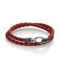 Tod's - Orange Leather Double-wrap Bracelet for Men - Lyst