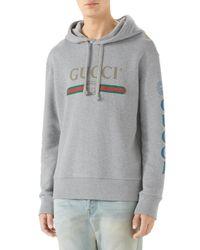 Gucci - Gray Hooded Dragon Graphic Sweatshirt for Men - Lyst