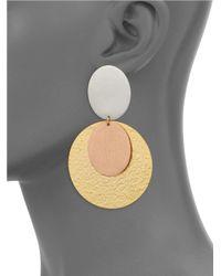 Stephanie Kantis - Metallic Sunset Tri-tone Double-drop Clip-on Earrings - Lyst
