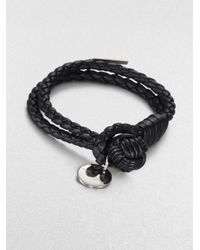 Bottega Veneta - Black Intrecciato Leather Double-row Wrap Bracelet - Lyst