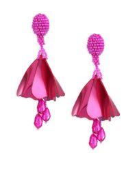 Oscar de la Renta - Pink Small Impatiens Clip-on Drop Earrings - Lyst