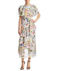 Borgo De Nor - White Valeria Hi Low Floral Gown - Lyst