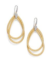 Marco Bicego | Metallic Cairo Diamond & 18k Yellow Gold Large Double Teardrop Earrings | Lyst