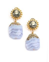 Nest - Metallic Blue Lace Agate Drop Earrings - Lyst