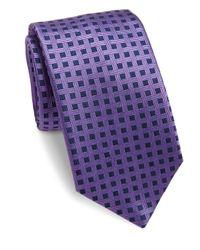 Saks Fifth Avenue - Purple Basketweave Silk Tie for Men - Lyst
