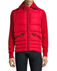 Moncler - Red Quilted Panel Wool Cardigan for Men - Lyst