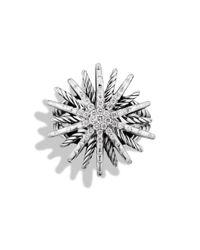 David Yurman - Metallic Starburst Medium Ring With Diamonds - Lyst
