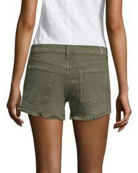 7 For All Mankind - Green Cut-off Denim Shorts - Lyst