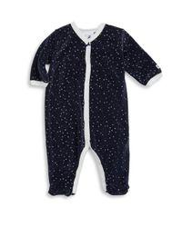 Petit Bateau - Blue Baby's Luna Velour Footie - Lyst