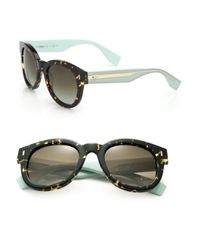 Fendi - Green Colorblocked Round Sunglasses - Lyst