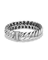 David Yurman - Metallic Hampton Bracelet With Diamonds - Lyst