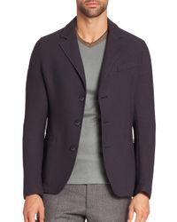 Giorgio Armani - Blue Textured Blazer for Men - Lyst