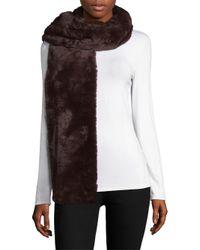 Donni Charm - Brown Faux Fur Fierce Scarf - Lyst