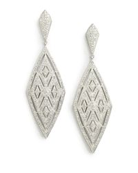 Adriana Orsini - Metallic Cubic Zirconia Encrusted Diamond Drop Earrings - Lyst