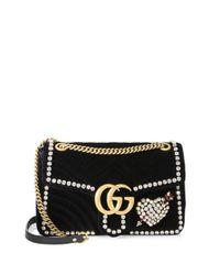Gucci - Black Gg Marmont Crystal Applique Velvet Bag - Lyst