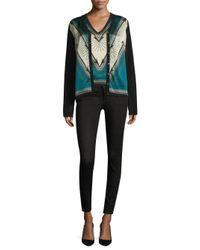 Versace - Blue Printed V-neck Cardigan - Lyst
