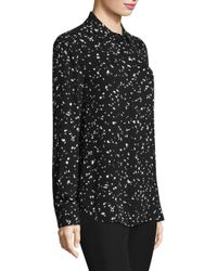 Donna Karan - Black Printed Blouse - Lyst