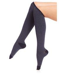 Ilux - Blue Nobo Skinny Stripe Knee-high Socks - Lyst