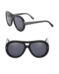 Stella McCartney | Black 55mm Aviator Sunglasses | Lyst