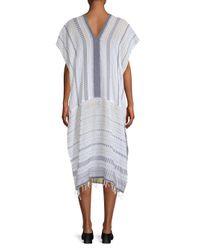 Lemlem - White Saba Striped Long Caftan - Lyst