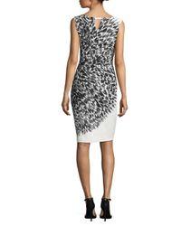 MILLY - Black Italian Cady Feather-print Sheath Dress - Lyst