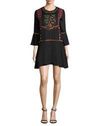 Joie - Black Gosinda Embroidered Mini Dress - Lyst