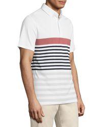 AG Green Label White Downey Stripe Printed Polo for men