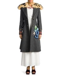 Miu Miu - Gray Shearling & Virgin Wool A-line Coat - Lyst
