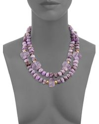 Nest - Purple Agate And Amethyst Necklace - Purple - Lyst